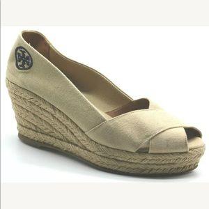 Tory Burch Espadrille Wedge Heel Sandals Peep Toe